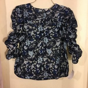 h&m gathered floral sheer ruched top